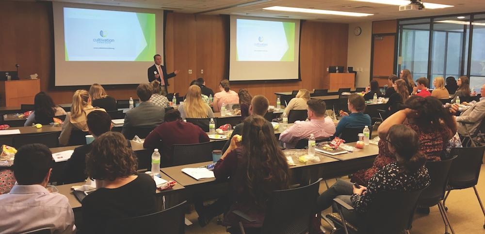 USDA National Institute of Food and Agriculture predoctoral fellow Karl Kerns, PhD candidate, gives a lecture at the 2017 Iowa One Health Conference